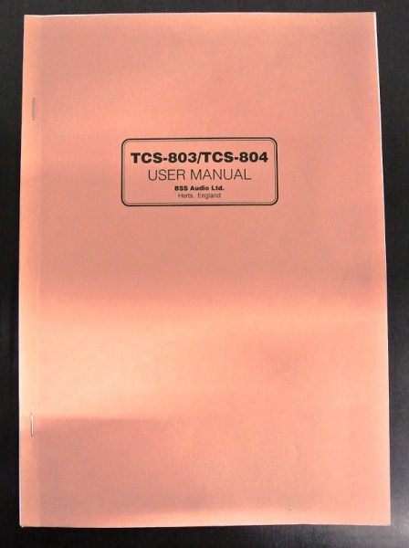 BSS TCS-803 / TCS-804 User Manual 1990