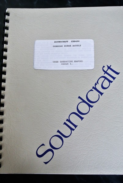 Soundcraft CPS 450 User Operating Manual 1