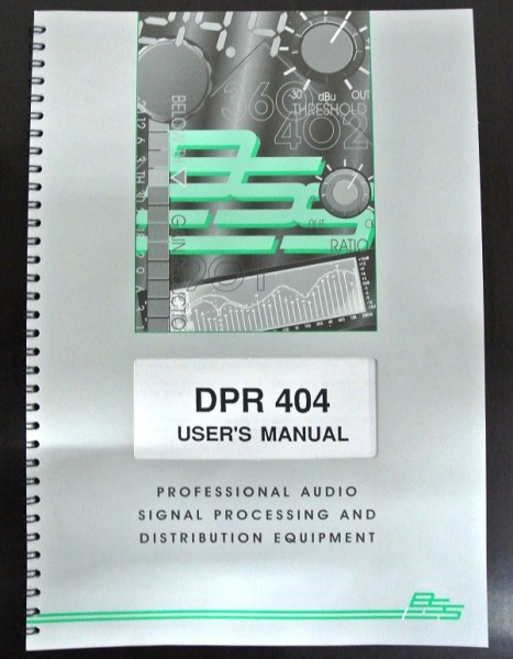 BSS DPR 404 Users Manual 1995