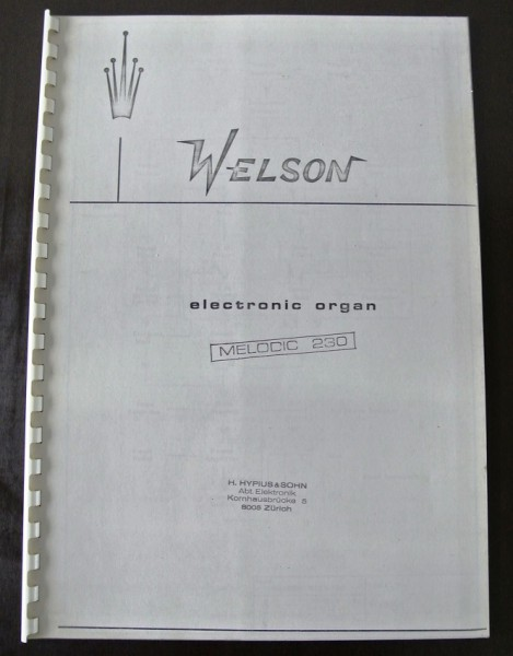 Welson Electronic Organ Melodic 230 Kopie Service Manual